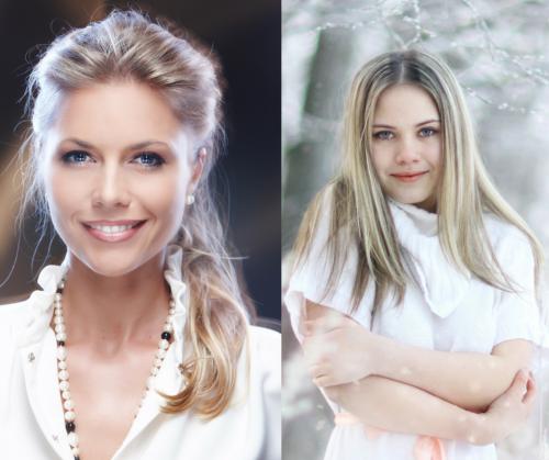 Ash blonde side by side