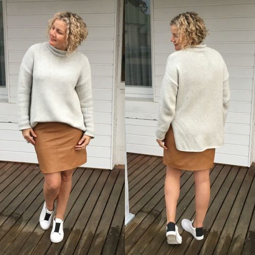 street sneakers with bronze skirt jumper sweater.png