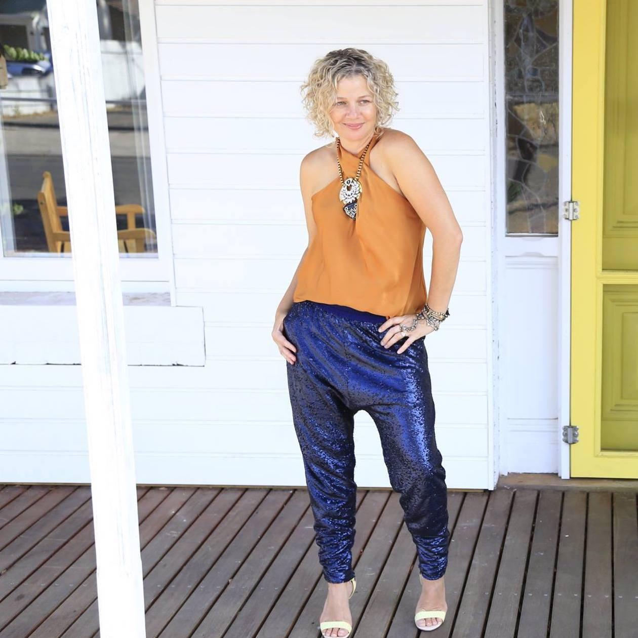 Nat Peach Top Blue Sequin Pants square.jpeg