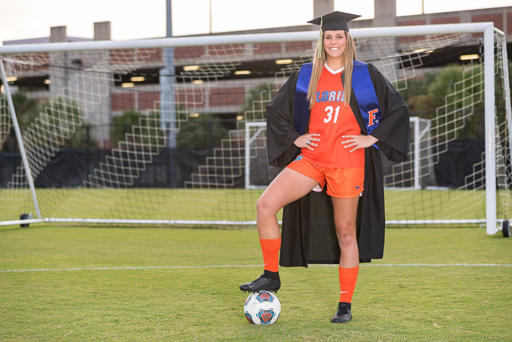 Grad photo session featuring Kaylan Marckese on Sunday, November 25, 2018 at Donald R. Dizney Stadium in Gainesville, FL / Photo by Matt Pendleton for Matt Pendleton Photography.