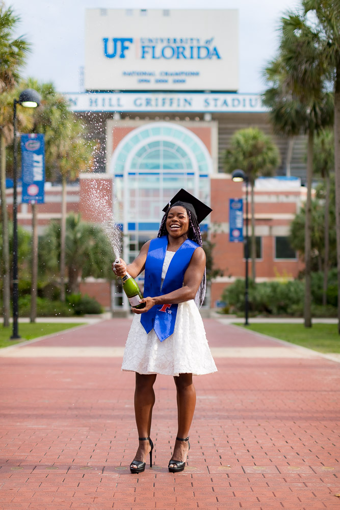 Grad photo session featuring Alicia Boren on Wednesday, August 7, 2019 at University of Florida Campus in Gainesville, FL / Photo by Matt Pendleton/Matt Pendleton Photography.