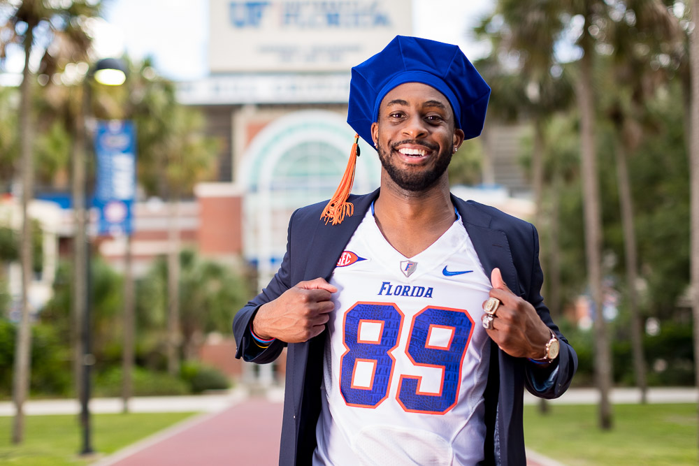 Grad photo session featuring Stephen Alli on Tuesday, August 6, 2019 at University of Florida Campus in Gainesville, FL / Photo by Matt Pendleton/Matt Pendleton Photography.