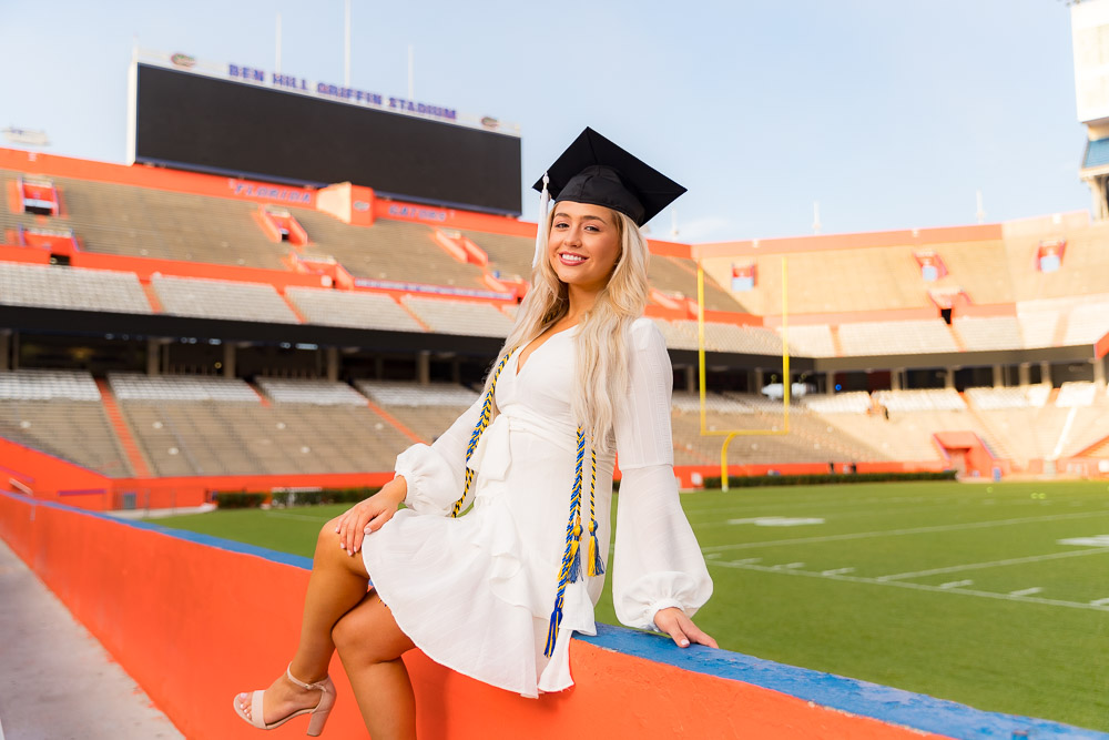 Grad photo session featuring Jamie Komoroski on Saturday, August 10, 2019 at University of Florida Campus in Gainesville, FL / Photo by Matt Pendleton/Matt Pendleton Photography.