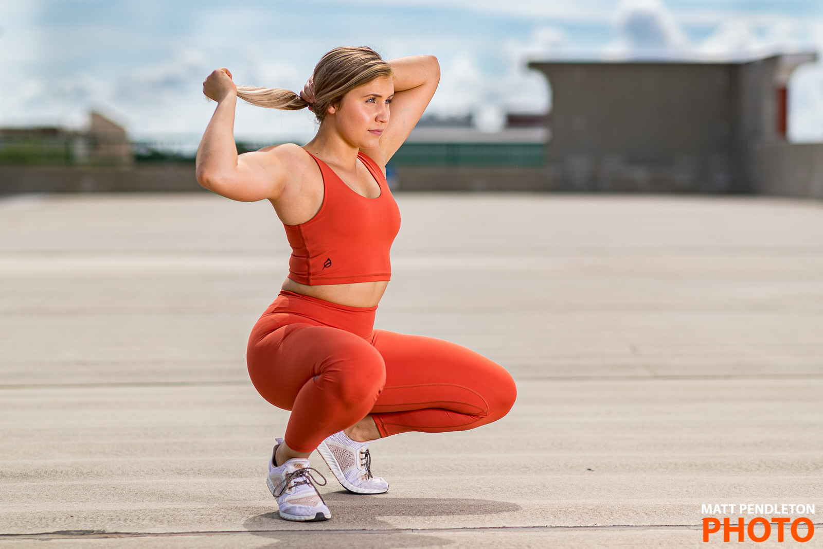 Fitness photo session with Emily Shaw on Sunday, June 30, 2019 at the Southwest Downtown Parking Garage in Gainesville, FL.
