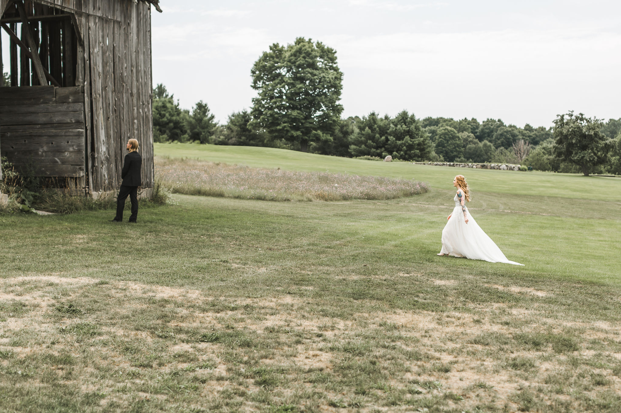 first look Petoskey wedding