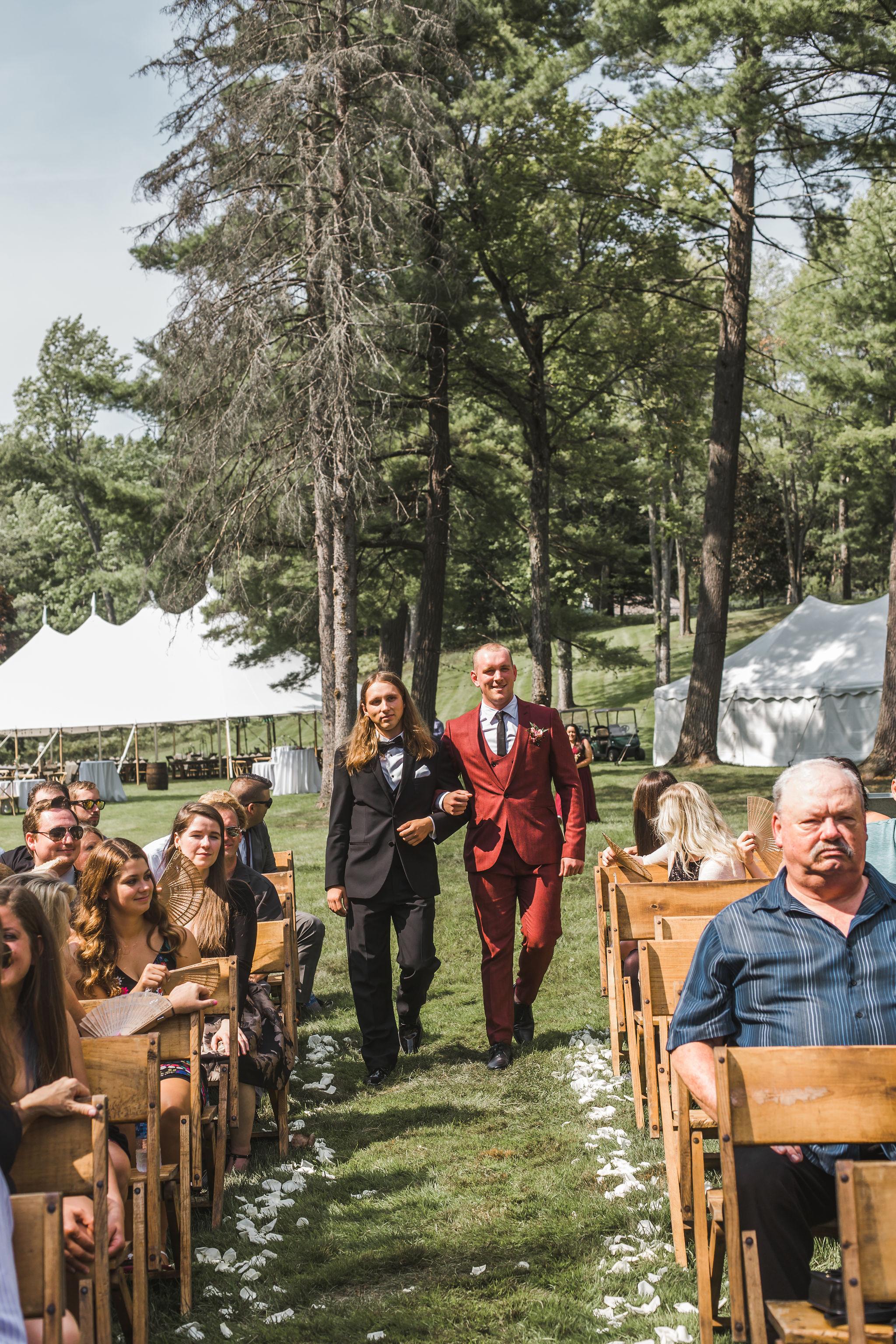 Red wedding suit