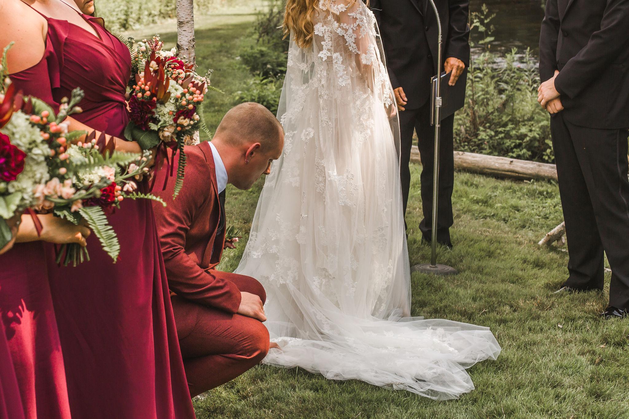 Ceremony lace wedding cape
