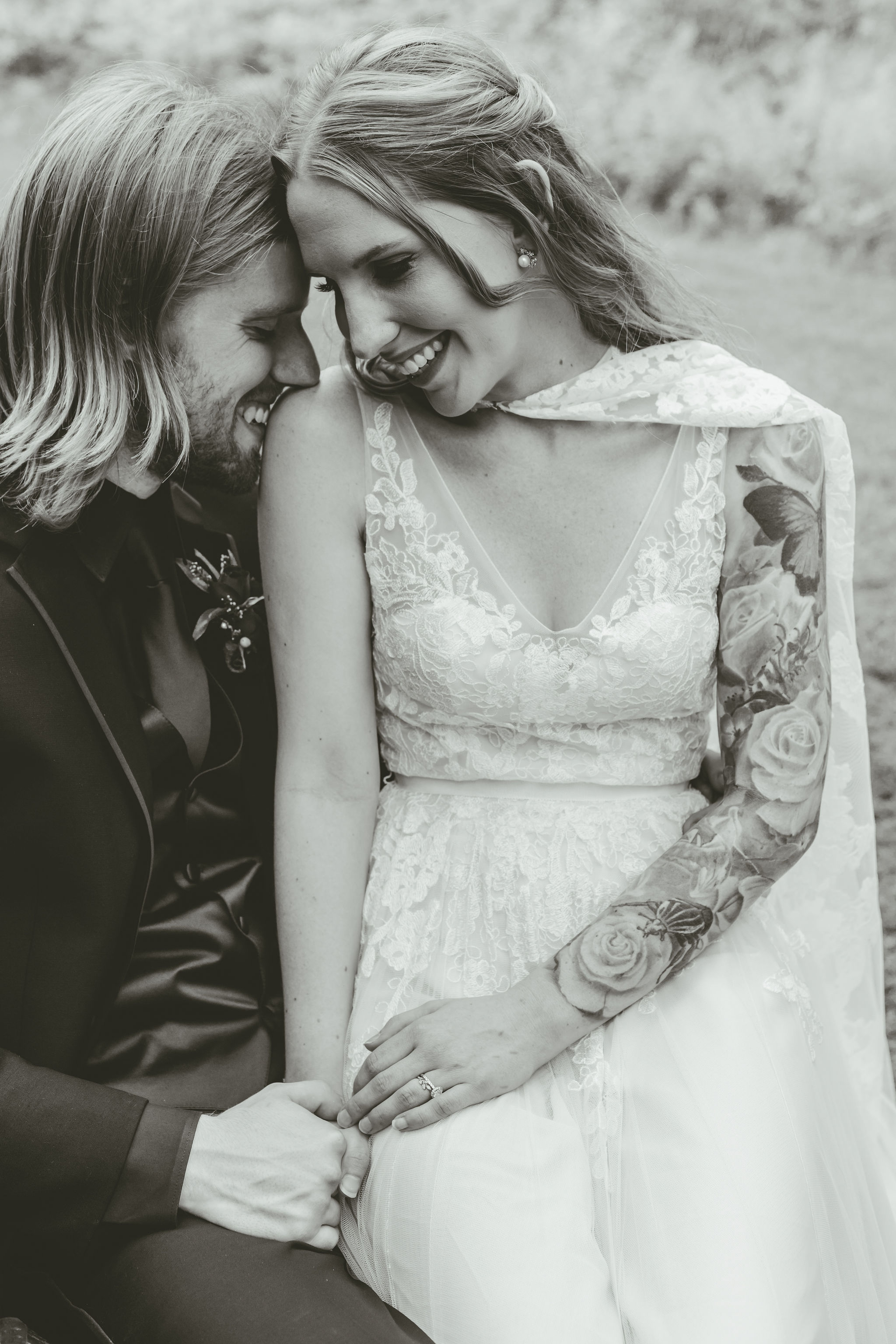 Lace wedding cape dress Bride with tattoos