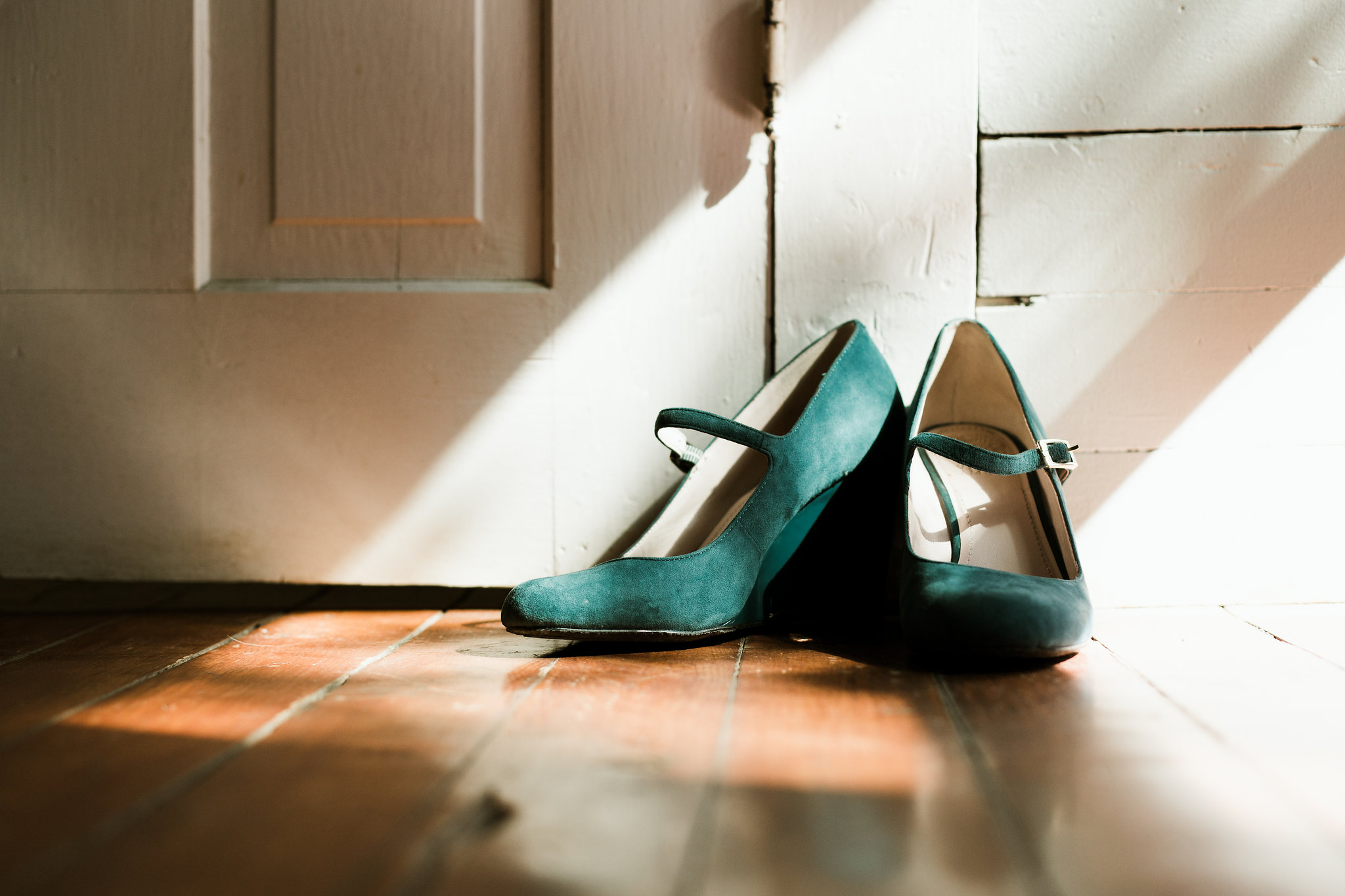 Suede teal wedding shoes