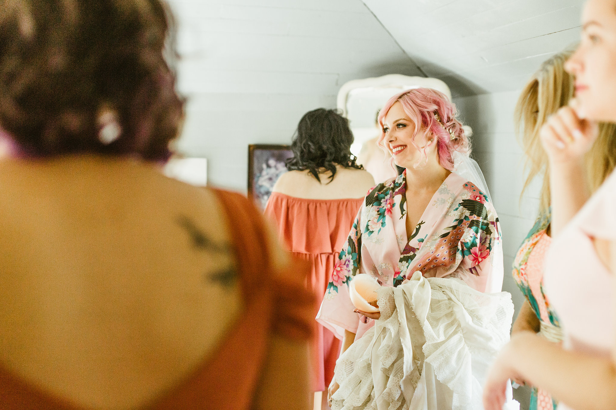 Bride with pink hair and floral robe