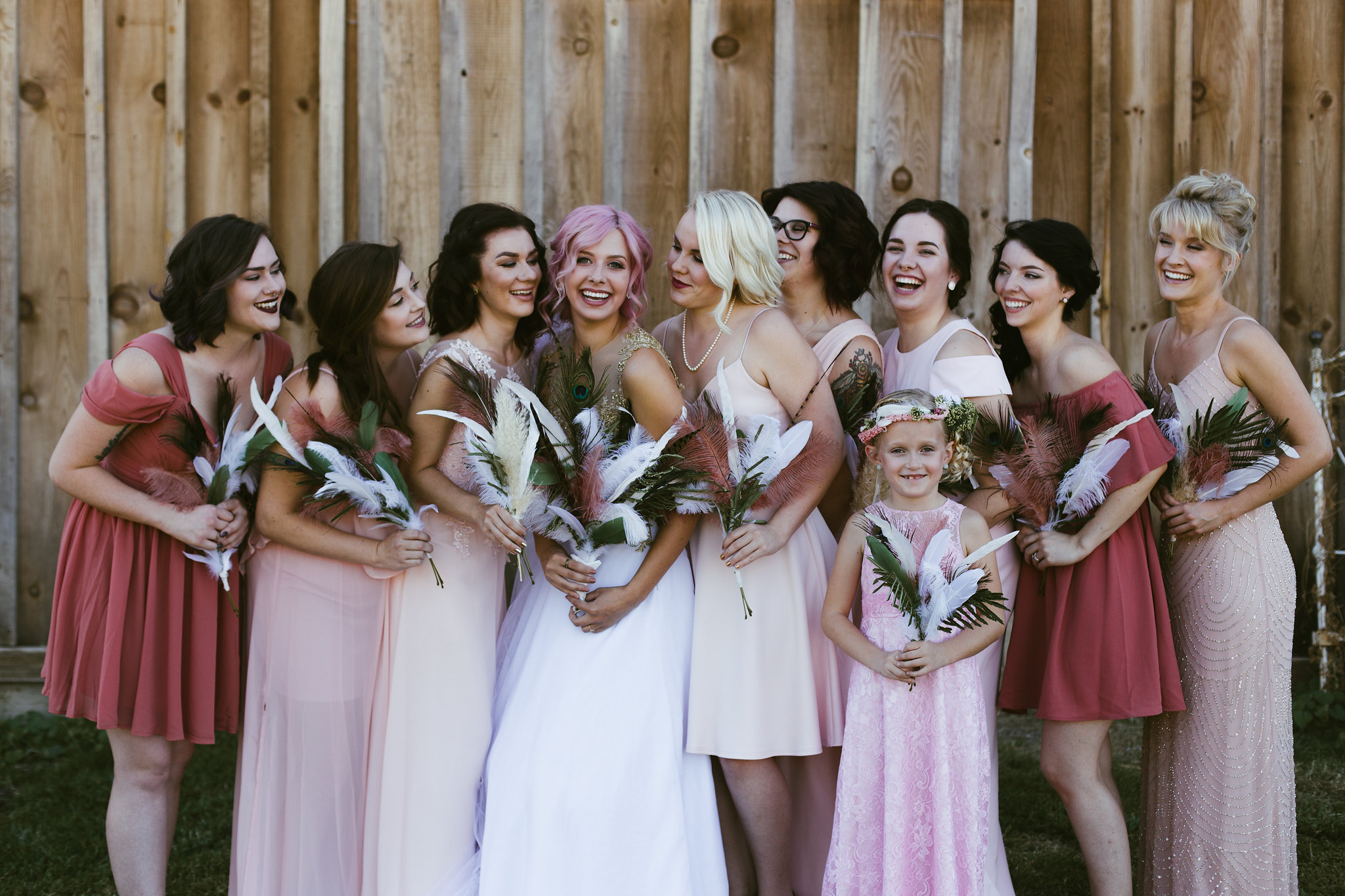 Pink hair Pink and blush bridesmaid dresses