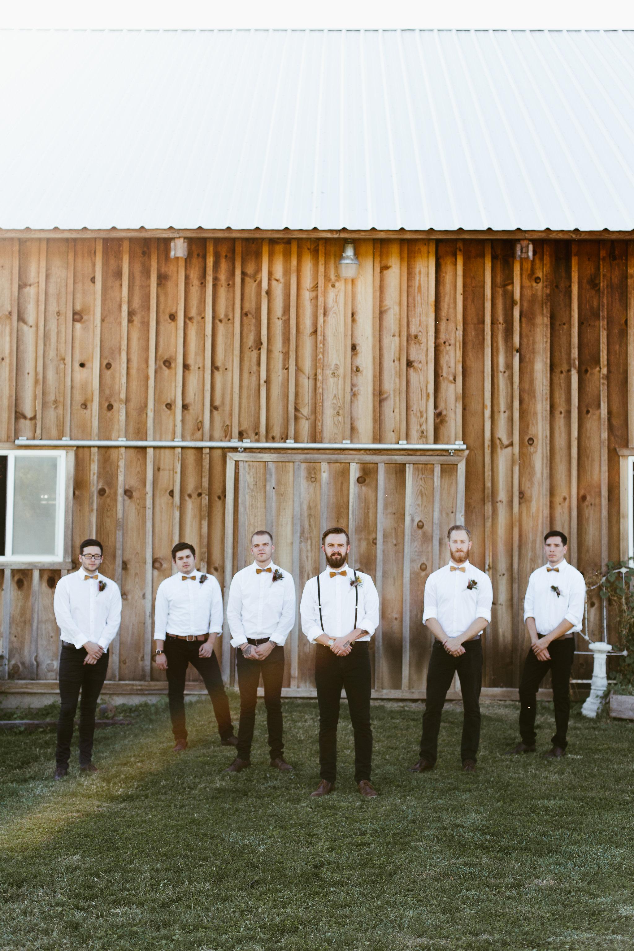 Groomsmen, Rustic barn wedding