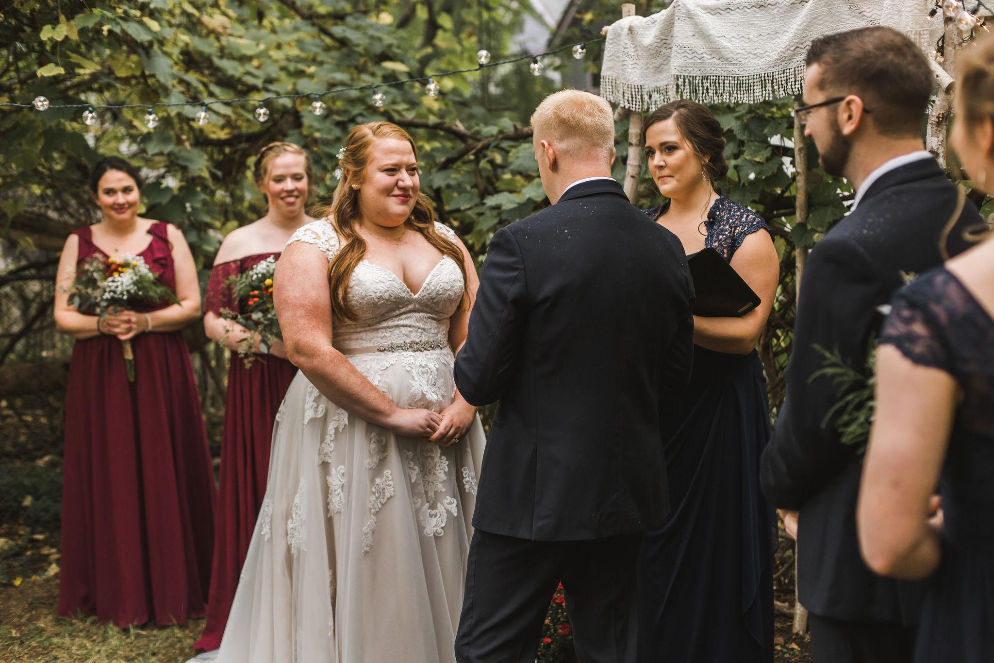 Michigan Backyard Wedding Ypsilanti Burgundy