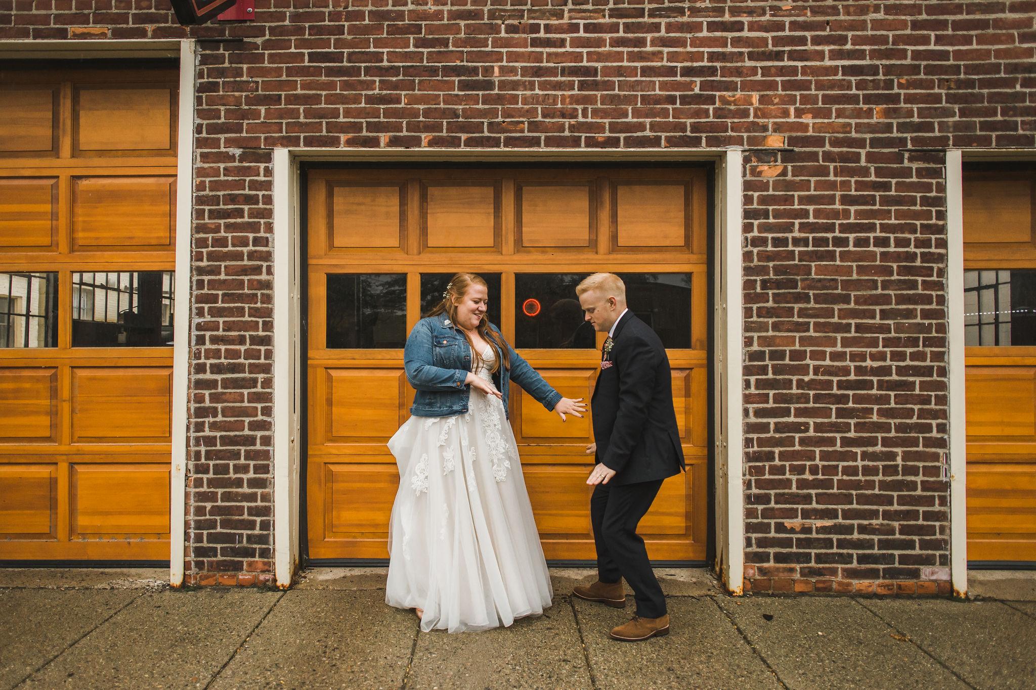 Downtown Ypsilanti Wedding Photos Bridal Jean Jacket
