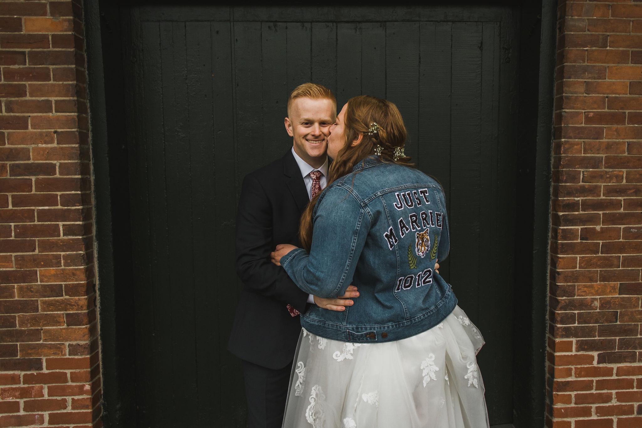 Downtown Ypsilanti Wedding Photos Bridal Just Married Jean Jacket