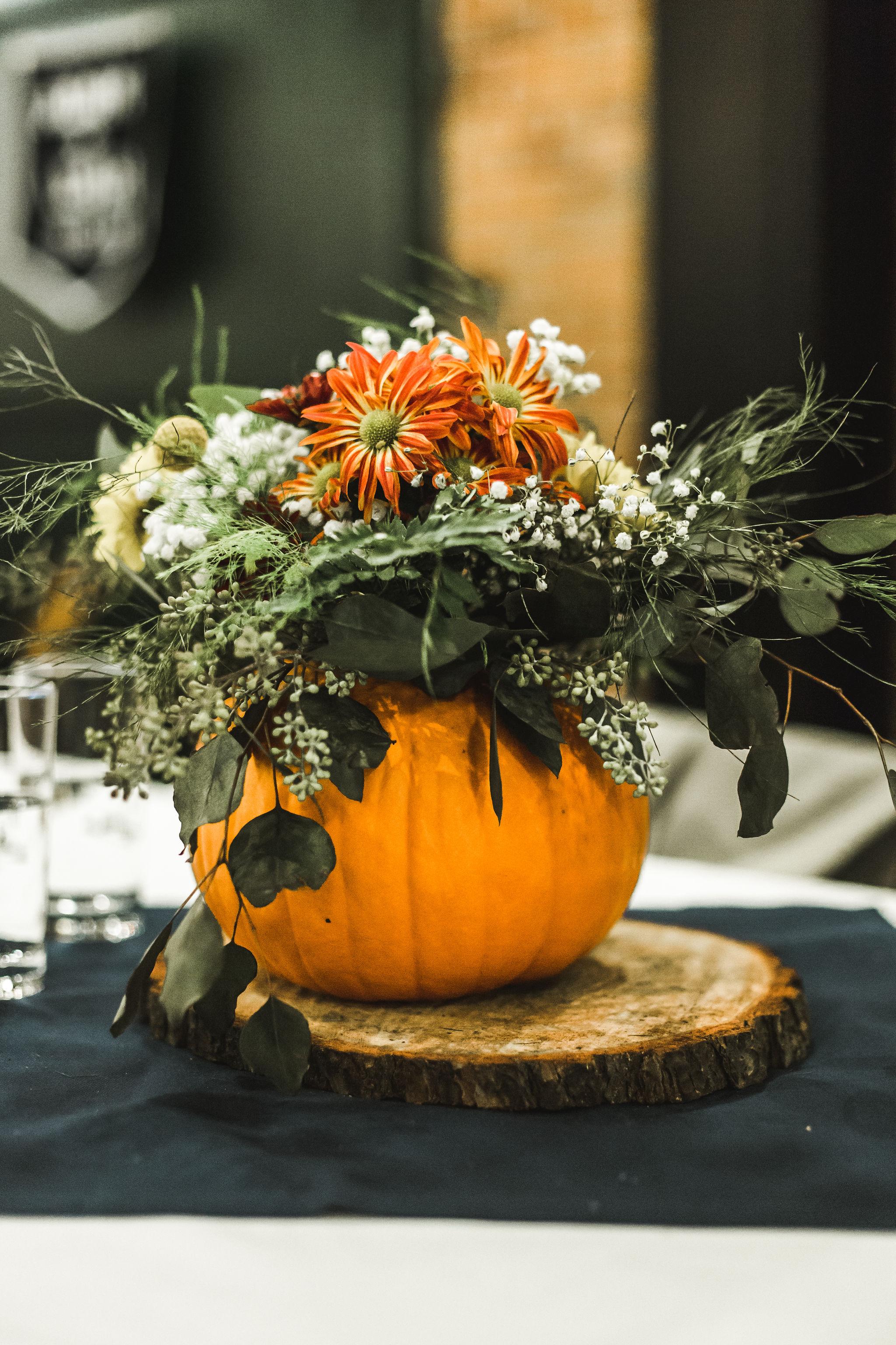 Fall Michigan Wedding Pumpkin Centerpiece