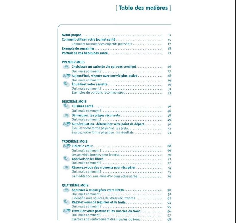 Mon journal santé - Table des matières p. 1