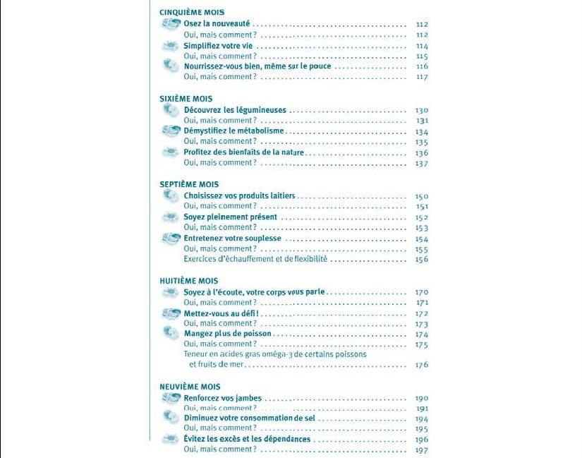 Mon journal santé - Table des matières p. 2