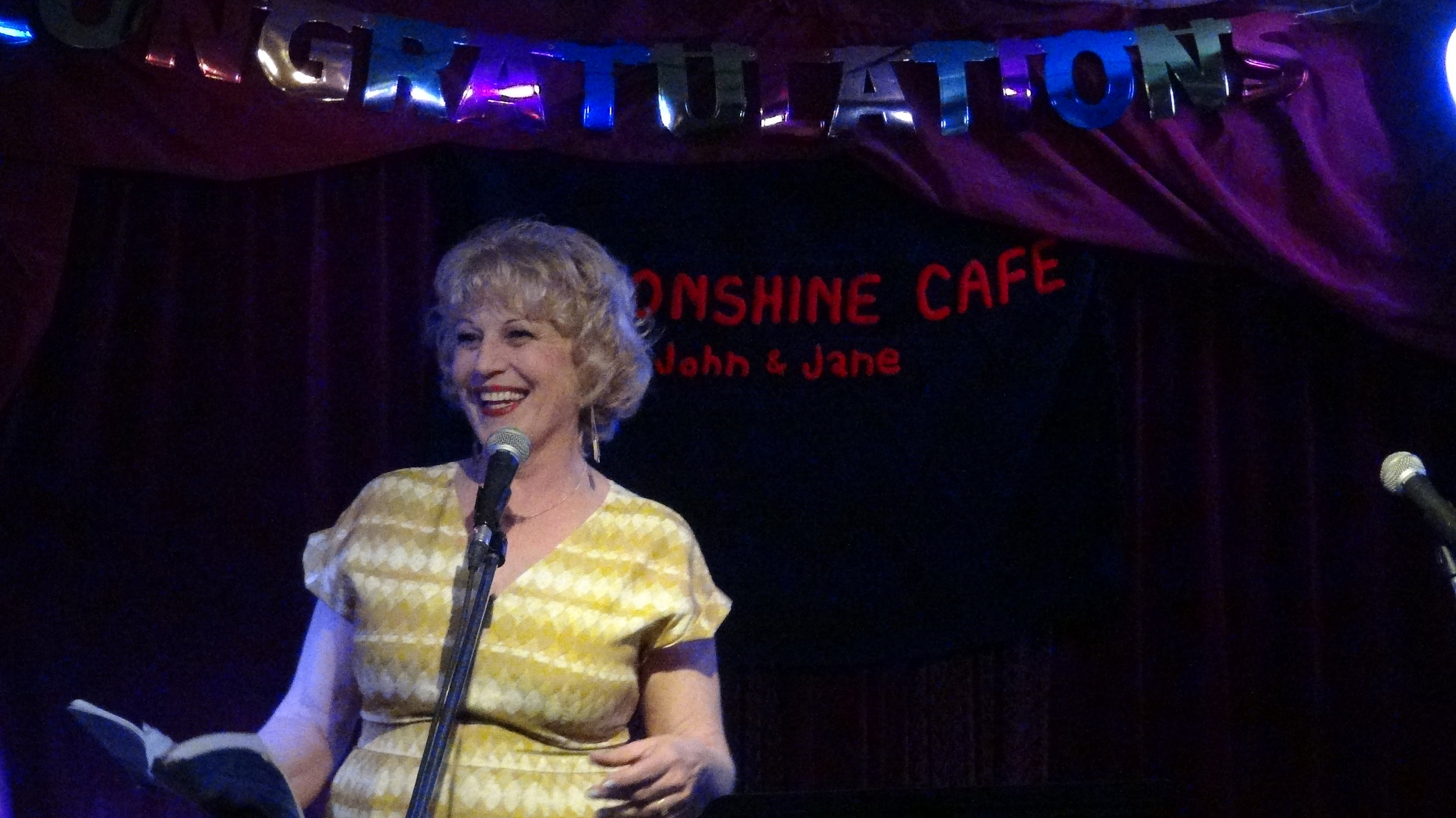 Professional entertainer and comic writer  Kim Cayer  keeps the audience in stitches (as usual).