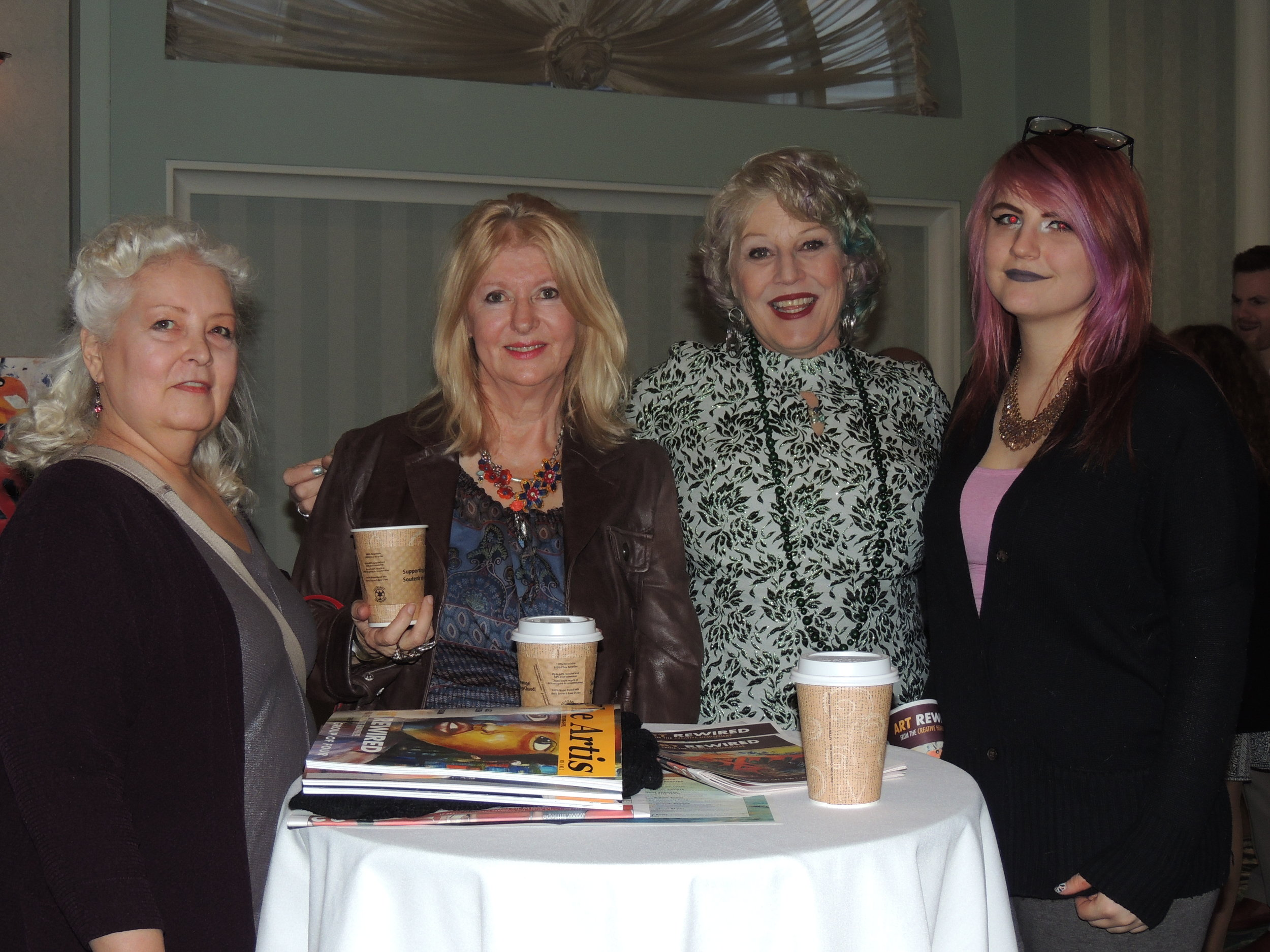 Contributing artists Eva Kolacz & Kim Cayer, with fellow artists Cheyenne & Susan. Photo by Mira Louis.