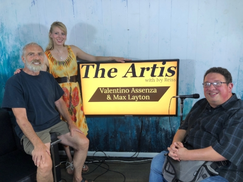 The Artis with Ivy Reiss Show - Ivy Reiss interviews Legendary Canadian Singer, & Songwriter Max Layton (left), and Poet and Host of 89.5 CIUT FM's Howl Radio, Valentino Assenza on August 17, 2018 at ThatChannel studios.Photo: Alex Krawtschenko
