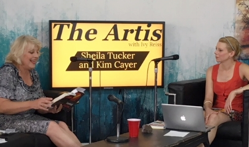 """The Artis with Ivy Reiss show - Ivy Reiss interviewing professional entertainer and 905 based author Kim Cayer on """"The Art of Reading Prose Live"""" and chatting about the very real themes of homelessness, battered women, elder abuse, and the over-sexualization of women in the media industry in her hilarious and often salacious novels.Click the Video Link button on the Homepage or watch this episode here. Photo by Sheila Tucker."""