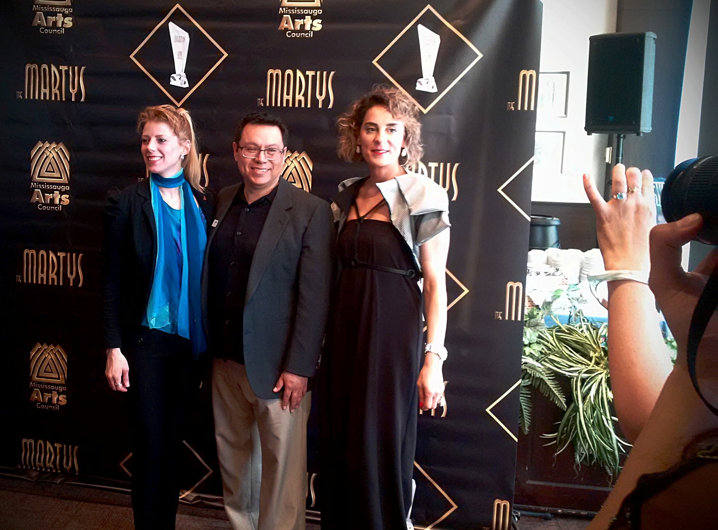 "Myself with my fellow finalist nominees  (the competition was tight!) in the ""Creative Design—Emerging"" category, jewellery designer  Carlos Herrera,  and fashion designer and Mississauga sensation,  Maya Charbin ."