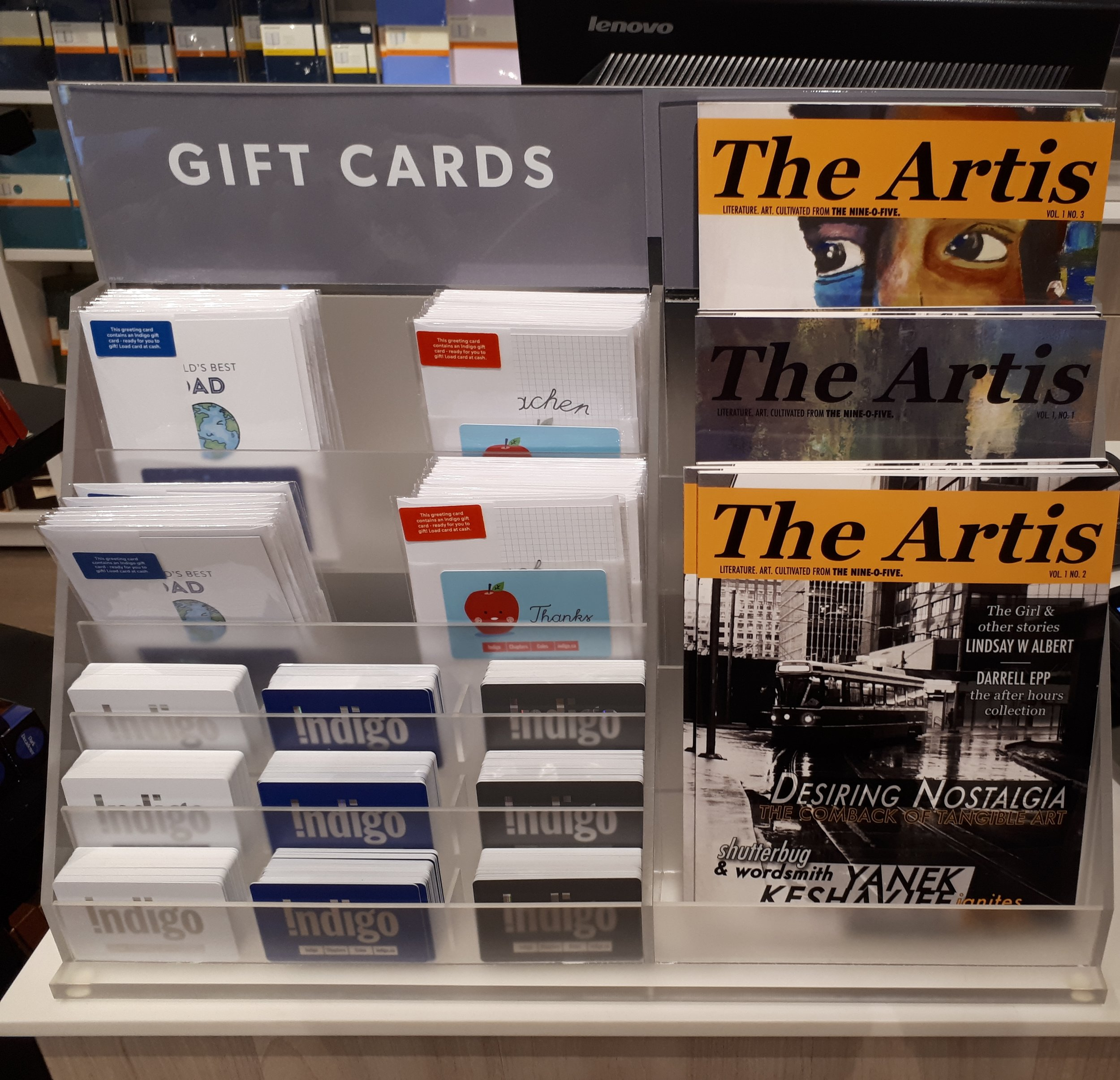 Order your VIP subscription NOW and never miss an issue! - At left, all three issues of The Artis on sale at the Indigo Spirit store in Oakville.