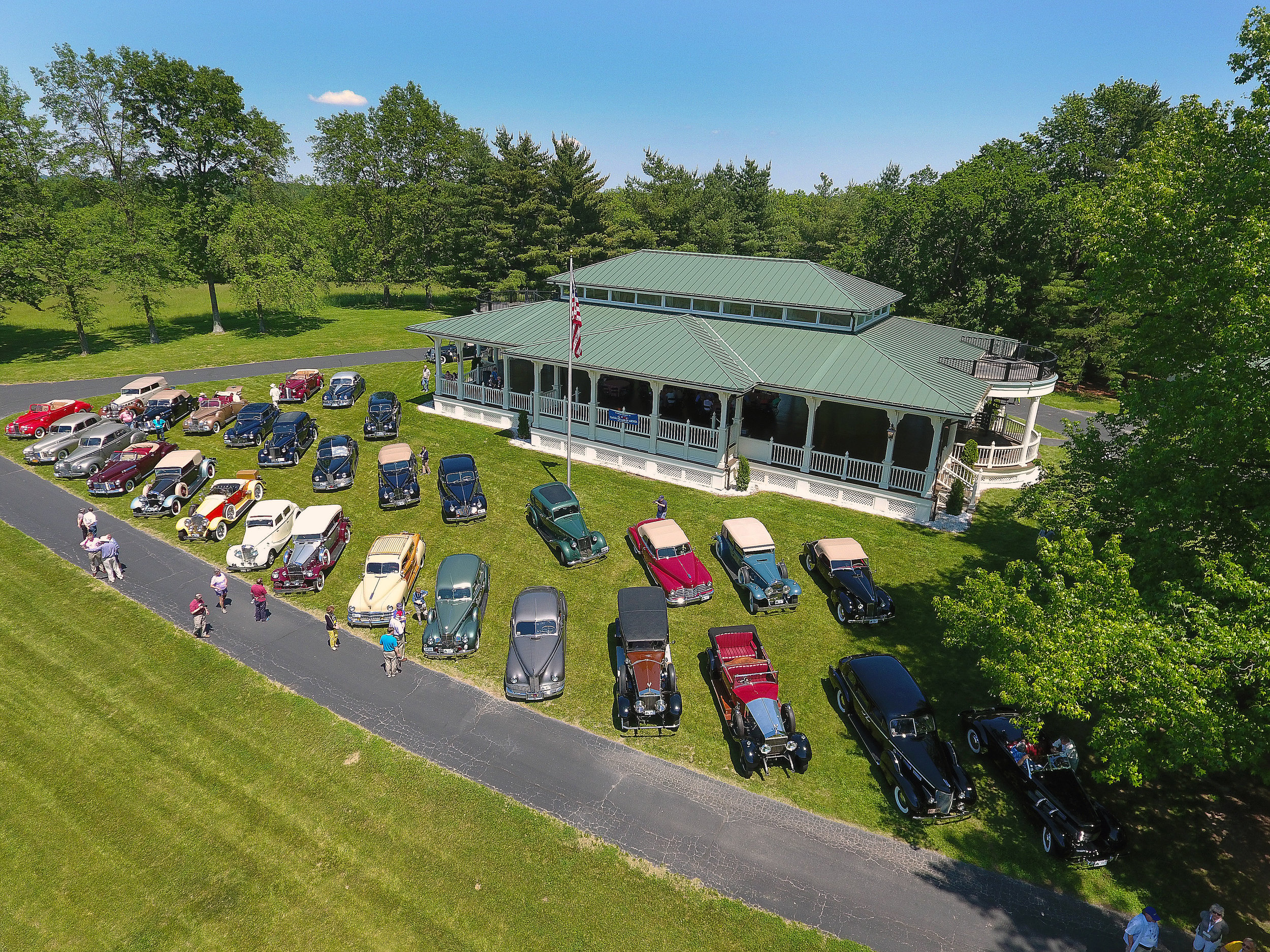 Dramatic aerial drone photo of Classics on the front lawn of the Pavilion.