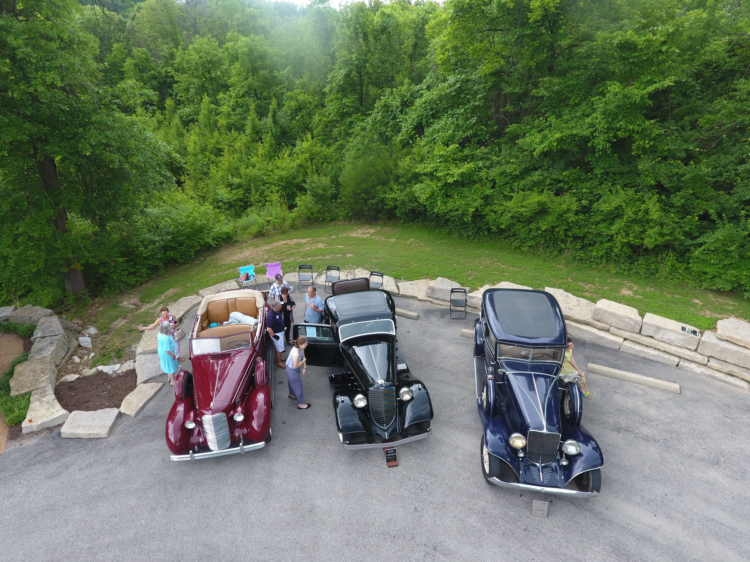A birds eye view of three Classic marques, l-r 1936 Cadillac, 1934 Lincoln, 1934 Auburn