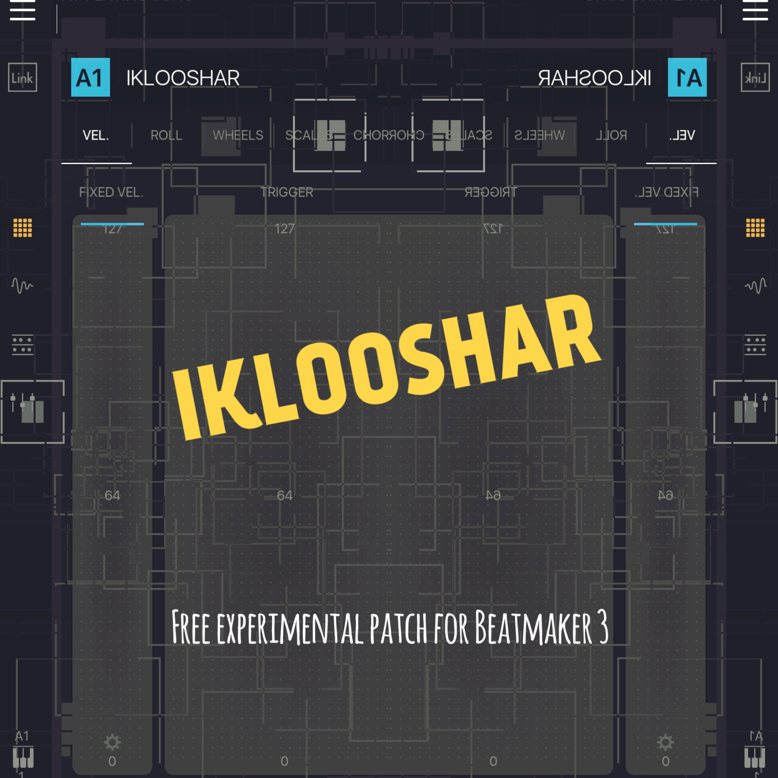 IKLOOSHAR - Free experimental patch for Beatmaker 3CLICK HERE TO DOWNLOADThis patch is an ultra-layered sound design experiment.The original source sample is from a saw being used in a puppet workshop!(Check out the video if you haven't already: https://.youtu.be/oqu2z2-V6u4)