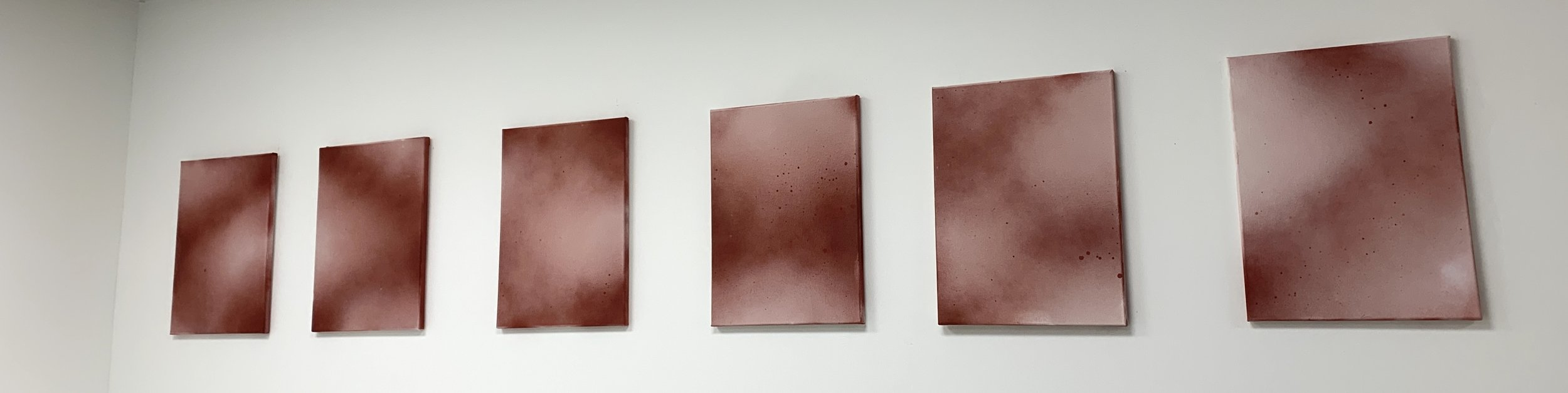 """DRIPPING   2019, 18"""" x 24"""" each, synthetic polymer paint"""