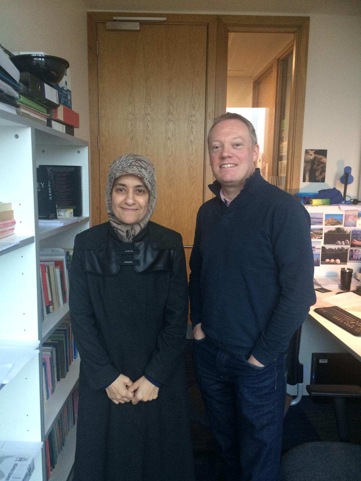 Dr Sawsan Hassan with her PhD supervisor, Prof. Dan McIntyre