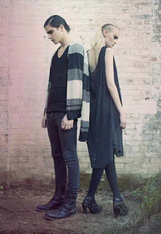 Hand loom knit-weaving cardigan and hand loom knit lace dress.