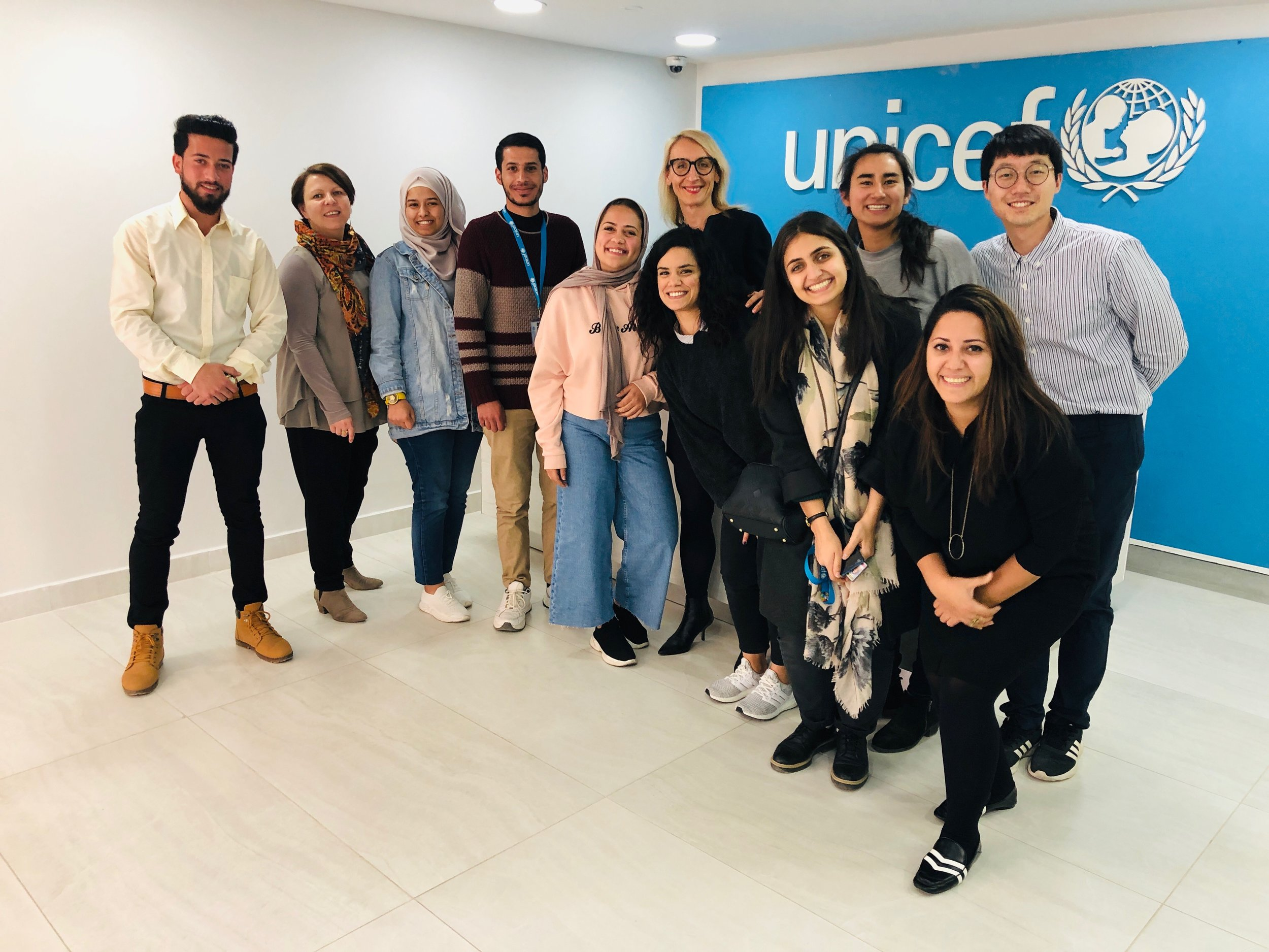 Youth Advisory Board members with UNICEF and NetHope Summit leads, after a Summit planning session in Amman, April, 2019.