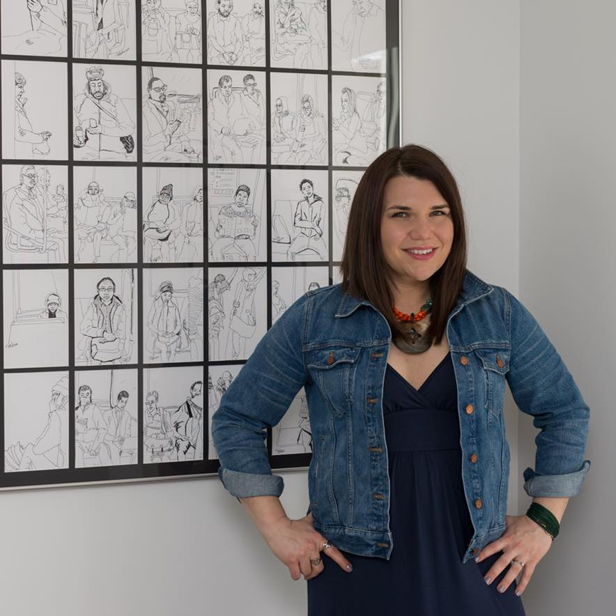 SARAH KAHLE - Sarah Kahle was born in 1985 in New Jersey. She received her BA degree in Fine Art from Queens University of Charlotte and currently works and lives the DC metropolitan area. Sarah is most well-known for her Metro Sketch drawing series. Since 2017, Sarah has transitioned from a commission-based practice, showing in Takoma Art Hop and Petworth First Friday. Sarah's current series, As We Came, is an exploration of the queer feminine gaze and will debut at Superfine Art Fair in Washington DC.