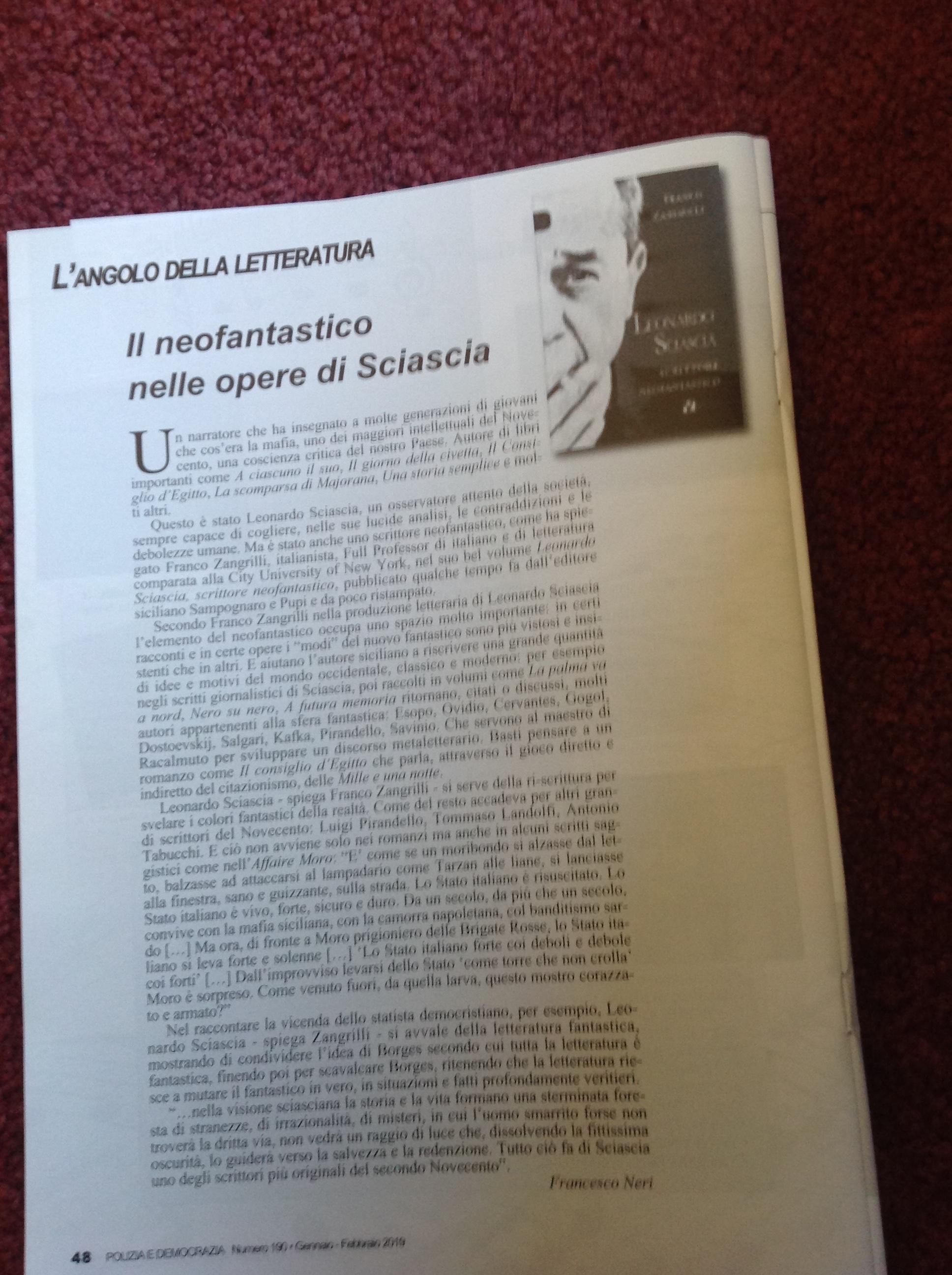 _Leonardo Sciascia_Scrittore neofantastico_Franco Zangrilli_