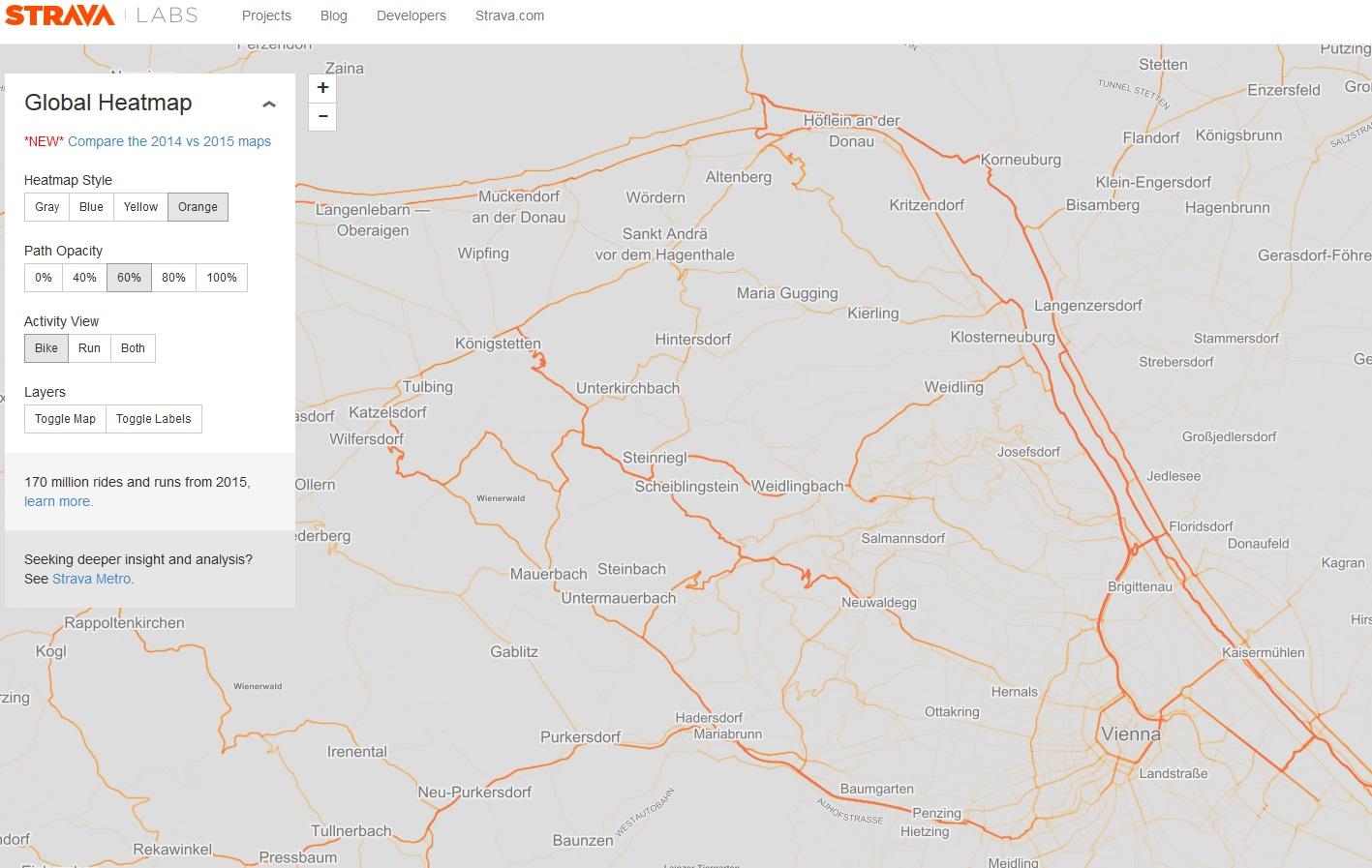 Wiener Ausschnitt aus der Global Heat Map von Strava (Link siehe oben)