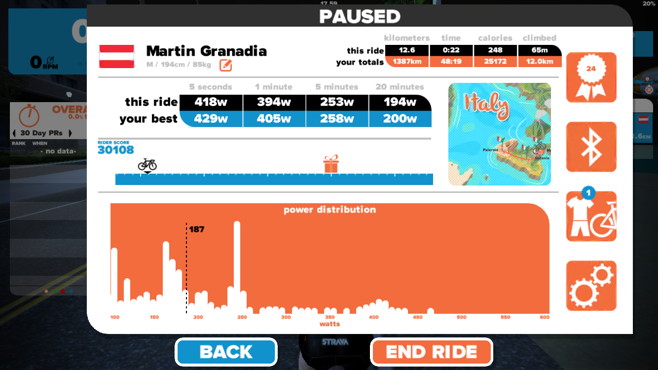 Hört man auf zu treten, kommt auch die Spielfigur zum Stillstand und ein Fenster erscheint - diesmal mit der Zusammenfassung der Fahrt, Gesamtstatistiken und einigen Menüpunkten.