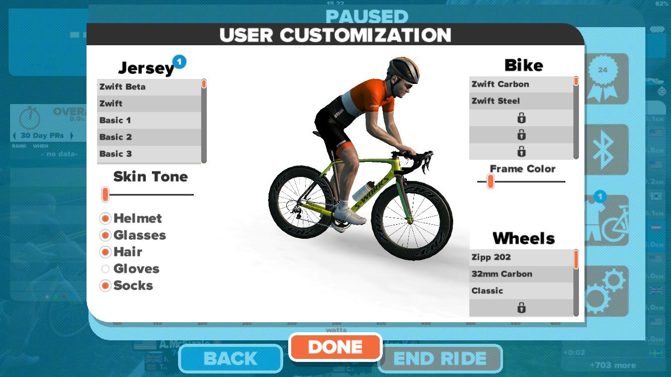 Hier könnt ihr euren Avatar individualisieren. Massig Trikots (entweder freigeschalten, von Special Events oder über Codes, die im Internet kursieren), Räder, Laufräder, usw.