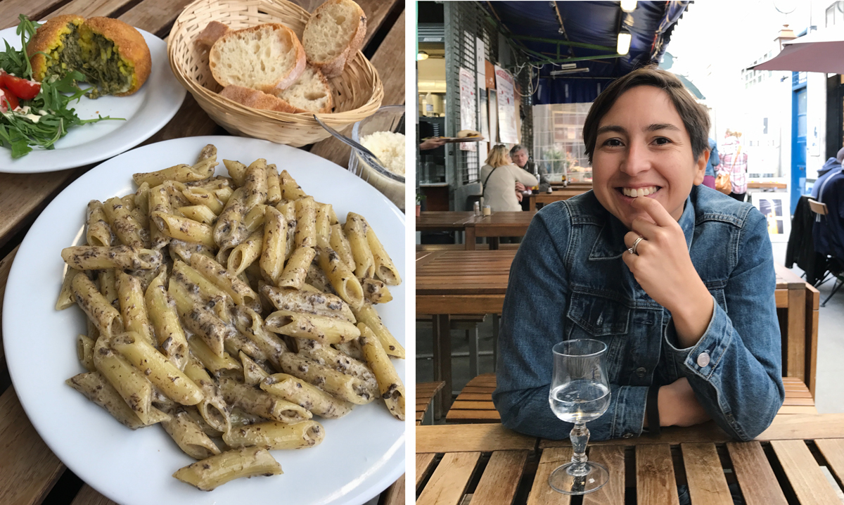 Two of my favorite things in the world... Pasta al Tartufo and her smile.