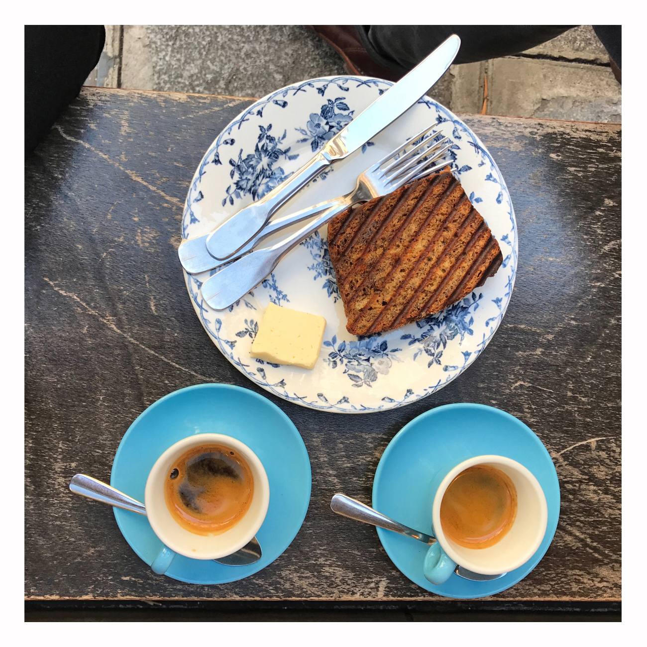 Not a bad way to start the day - espresso and banana bread from Telescope