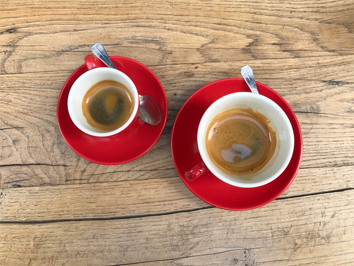 His and hers - single and double espressos.