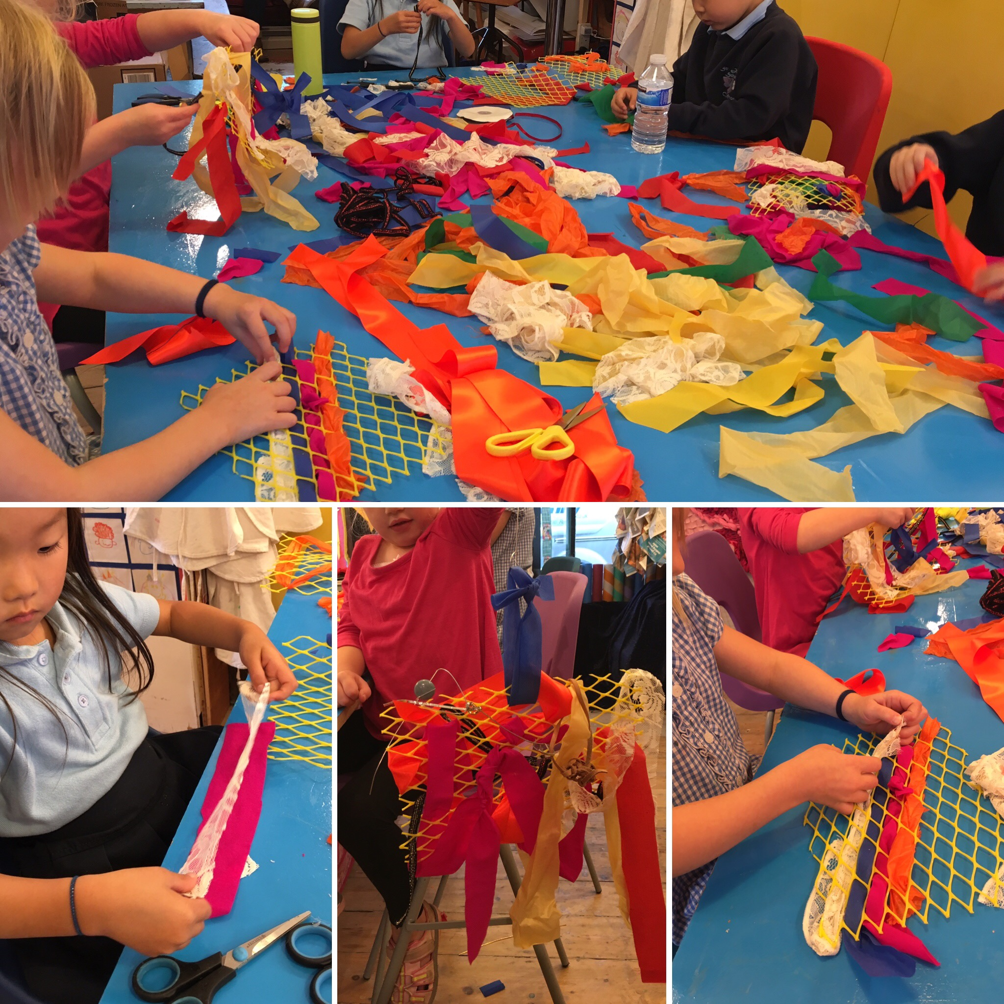 Play & Explore - Weaving - Such colourful weaves, and so much concentration. This was a calm and thoughtful class as everyone worked out which fabrics they liked best and how to use them in their piece.