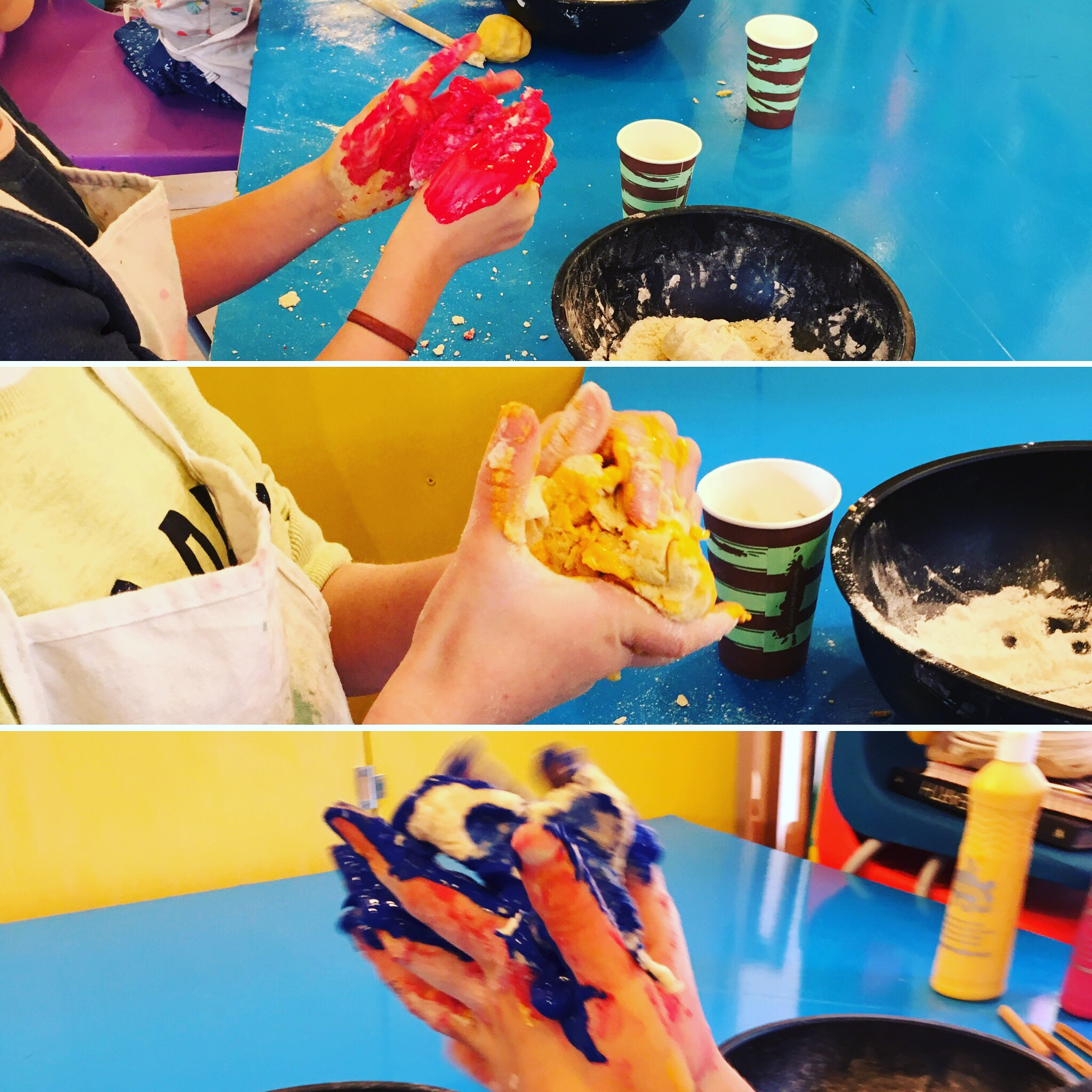Discover & Create - Salt dough - The children made and coloured their own salt dough - great, messy fun - and then made abstract faces inspired by artist Kimmy Cantrell