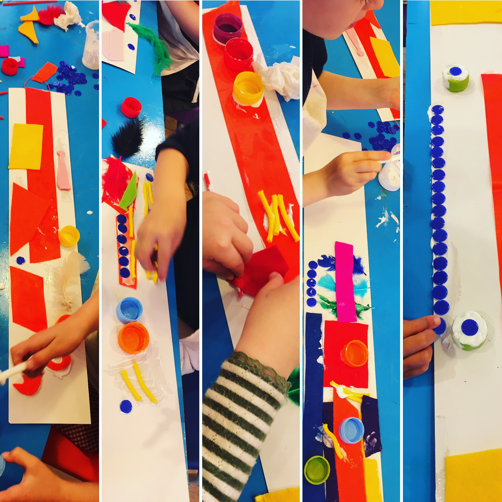 Play & Explore - Beautiful abstract wall hangings, using lots of different small and colourful pieces and strong PVA glue. These artists were enjoying this class so much that it was hard to get them to leave!