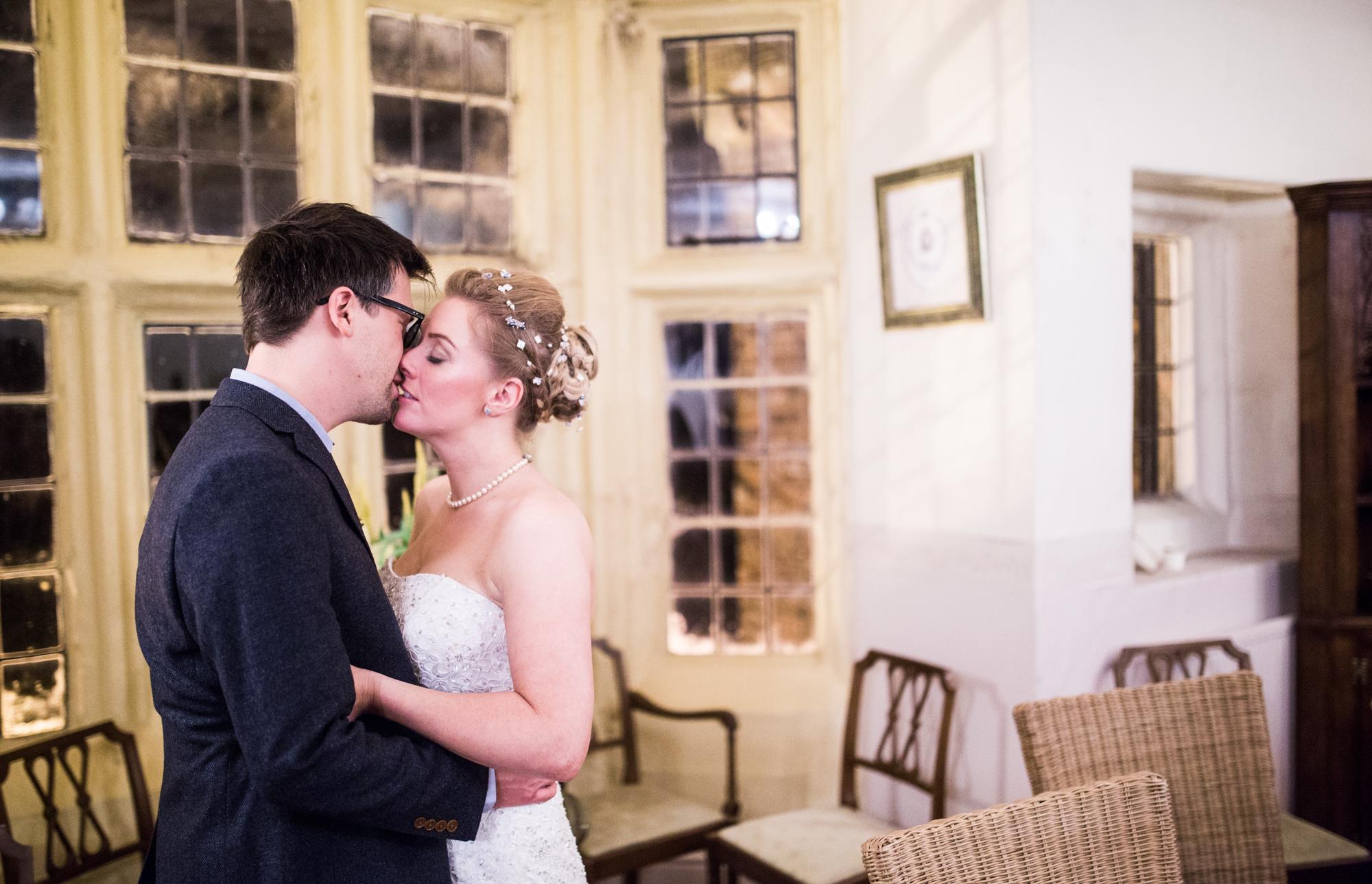 bride and groom husking hall
