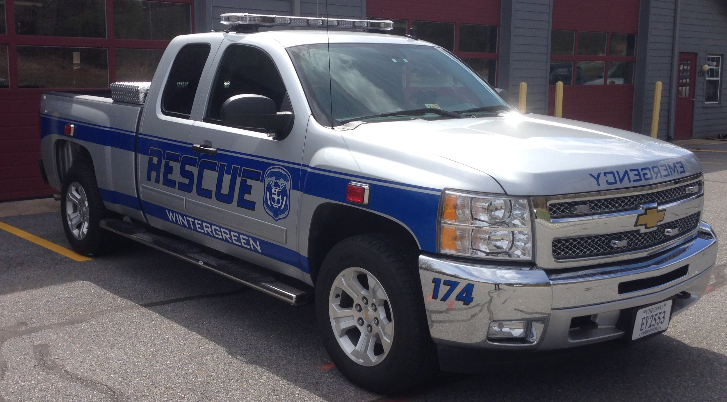 The new Response 174 is a half-ton extended cab Chevy Silverado. 60% of the rear seat was removed to make room for a full compliment of ALS gear. This vehicle, purchased in April 2014, will become the primary ALS response vehicle for Wintergreen Station 2. 174 is now far more capable of pulling the ATV trailer, the Special Events trailer,and the Forest Fire Support Trailer should a need arise. The truck, as well as all of the items we purchased to outfit it as an emergency vehicle were Made In America.