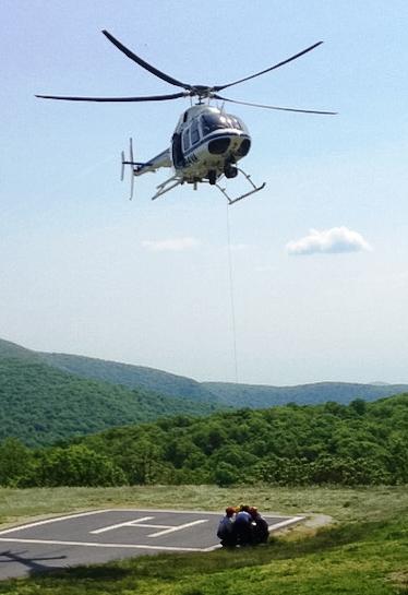 Helicopter basket prep