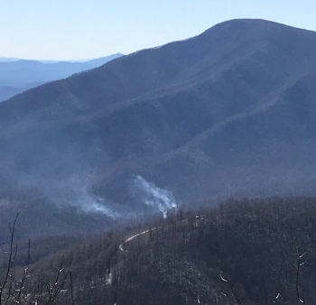 "This photo was taken by a ""fire-spotter"" positioned at the Plunge Park on Blackrock Drive at Wintergreen.  Fire and wind conditions were continuously monitored to be certain there was no threat to the Wintergreen community."